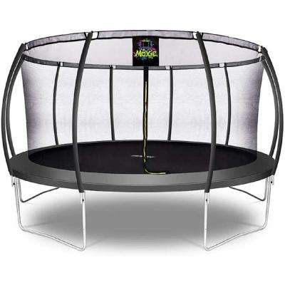 15 ft. Charcoal Pumpkin-Shaped Outdoor Trampoline Set with Premium Top-Ring Frame Safety Enclosure