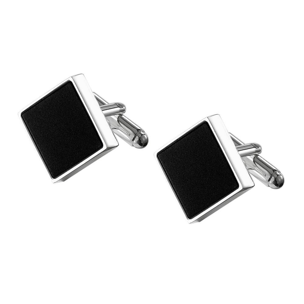 Grove Black Matte Square Silver Plated Cufflinks