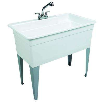 Utilatub Combo 40 in. x 24 in. 33 in. Polypropylene Floor Mount Utility Tub with Pull-Out Faucet in White