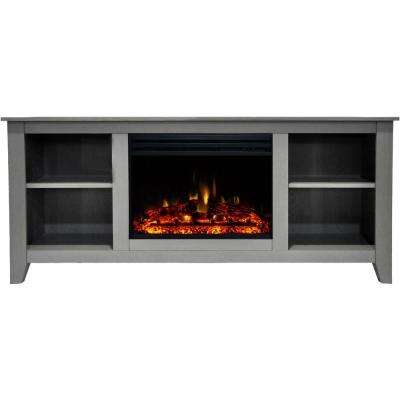 Santa Monica 63 in. Electric Fireplace Heater TV Stand in Gray with Enhanced Log Display and Remote