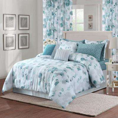 Eucalyptus 4-Piece Teal Full/Queen Comforter Set