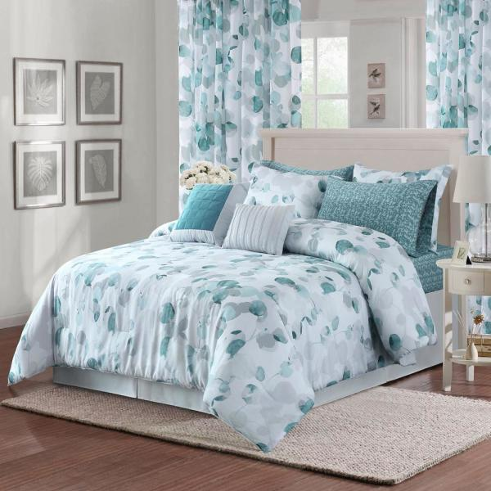 Sara B. Eucalyptus 4-Piece Teal Full/Queen Comforter Set SBCFEULP5