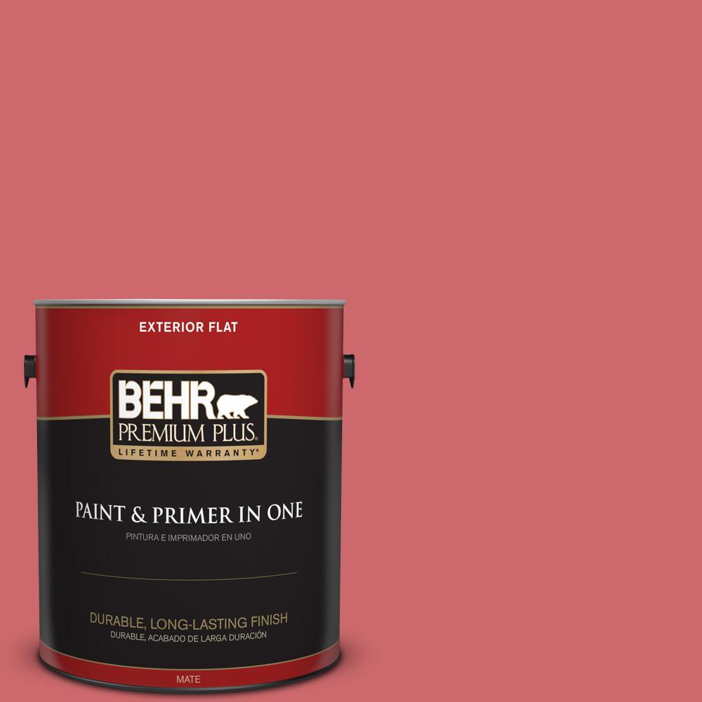 BEHR Premium Plus 1 gal. #MQ4-02 Strawberry Wine Flat Exterior Paint ...