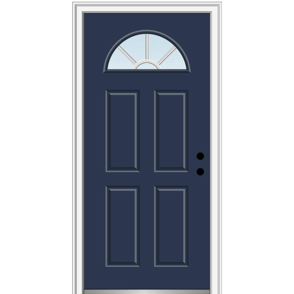 MMI Door 36 in. x 80 in. Grilles Between Glass Left-Hand Inswing 1/4-Lite Clear 4-Panel Classic Painted Steel Prehung Front Door