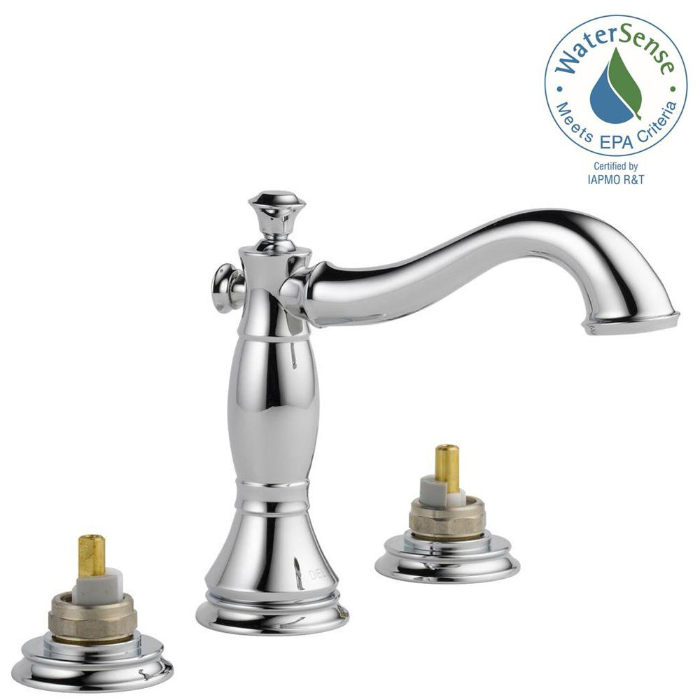 Delta Cassidy 8 in. Widespread 2-Handle Bathroom Faucet with Metal Drain Assembly in Chrome (Handles Not Included)