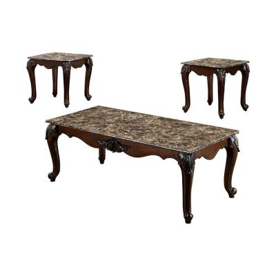 Benjara 3-Piece 48 in. Dark Cherry Large Rectangle Marble Coffee Table Set
