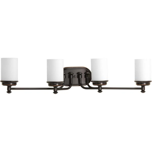 Glide Collection 4-Light Rubbed Bronze Bathroom Vanity Light with Glass Shades