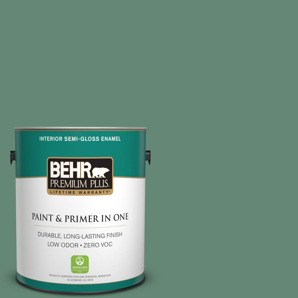 1-gal. #PPF-35 Green Adirondack Zero VOC Semi-Gloss Enamel Interior Paint