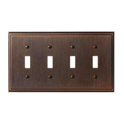 Mulholland 4-Toggle Wall Plate, Oil-Rubbed Bronze