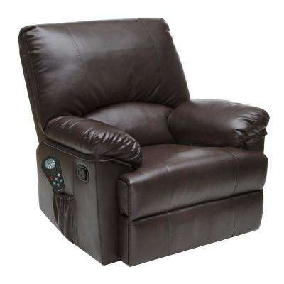 Massage Rocker Recliner Bonded Leather Marbled Brown