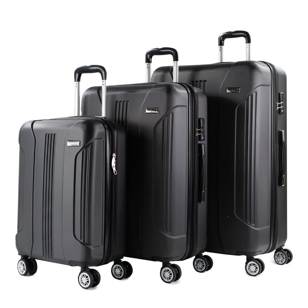 AmericanGreenTravel American Green Travel Denali 3-Piece Black Expandable Hardside Spinner Luggage with TSA Locks
