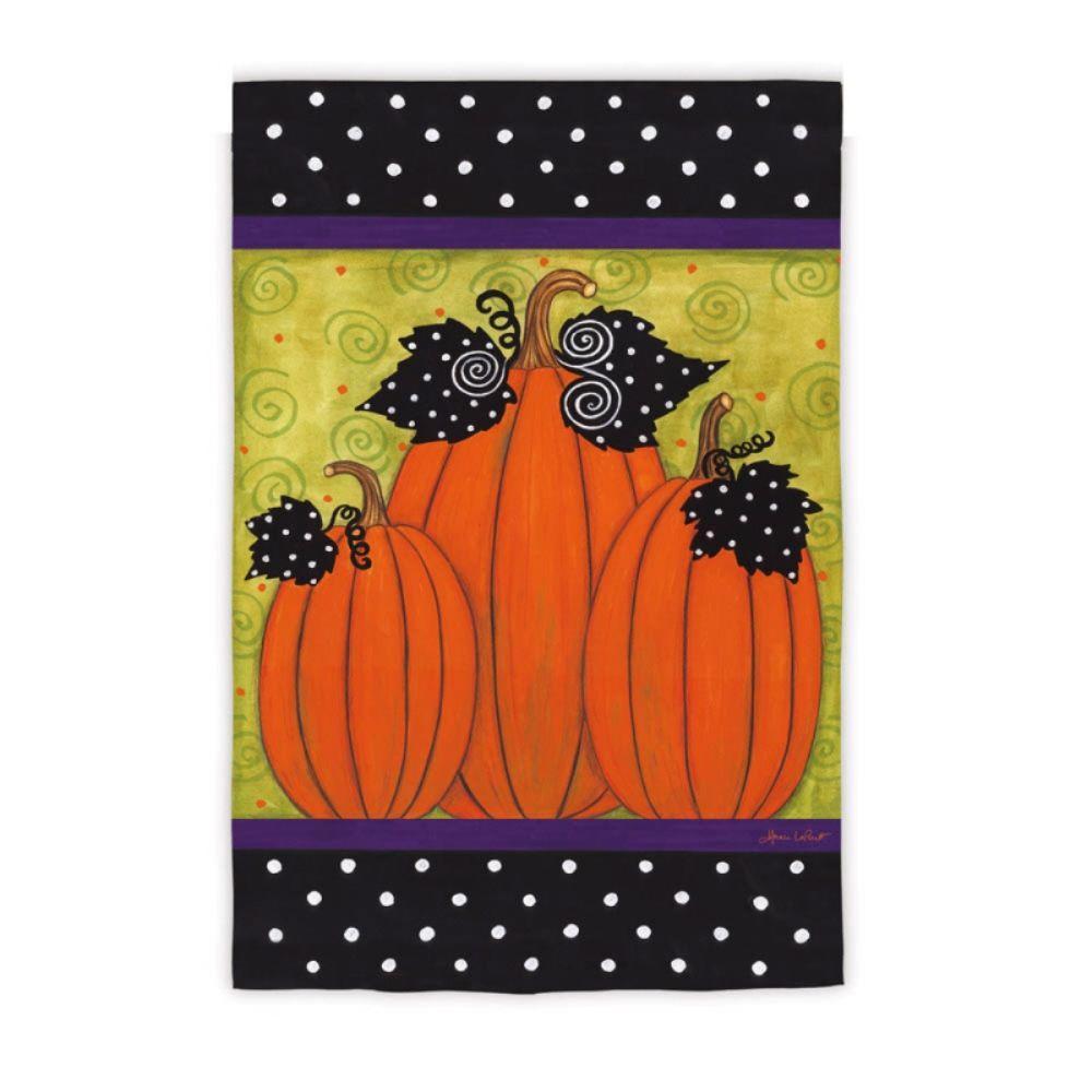 Evergreen 1 ft. x 1-1/2 ft. Whimsy Pumpkins 2-Sided Garden Flag