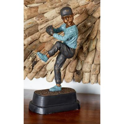 Litton Lane Pitching Baseball Player Polystone Sculpture, Brown
