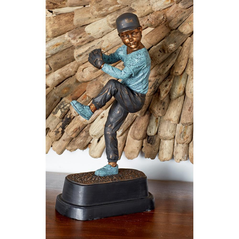 Pitching Baseball Player Polystone Sculpture