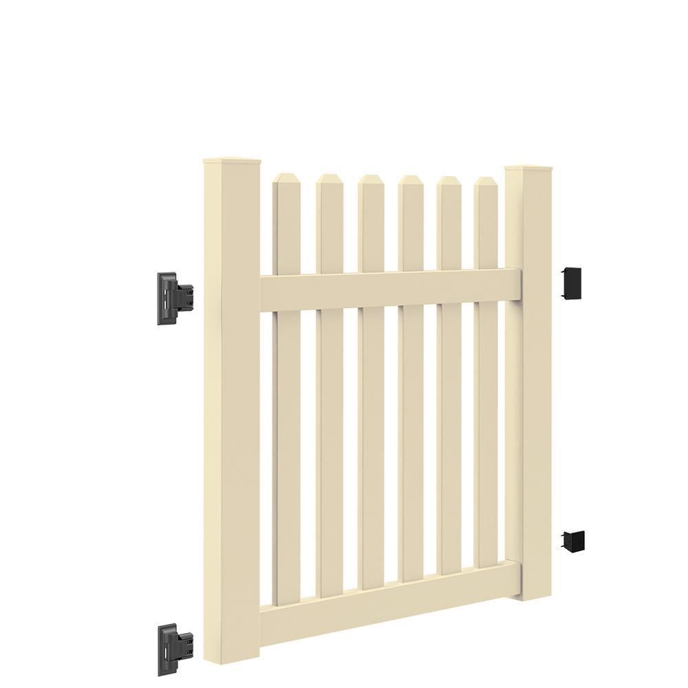 Seneca Straight 4 ft. W x 4 ft. H Sand Vinyl Un-Assembled Fence Gate