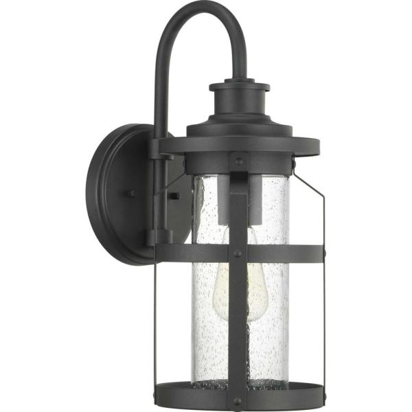 Haslett Collection 1-Light Black Outdoor Wall Lantern Sconce