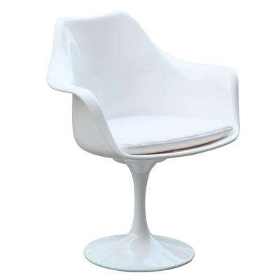 White Flower Arm Dining Chair