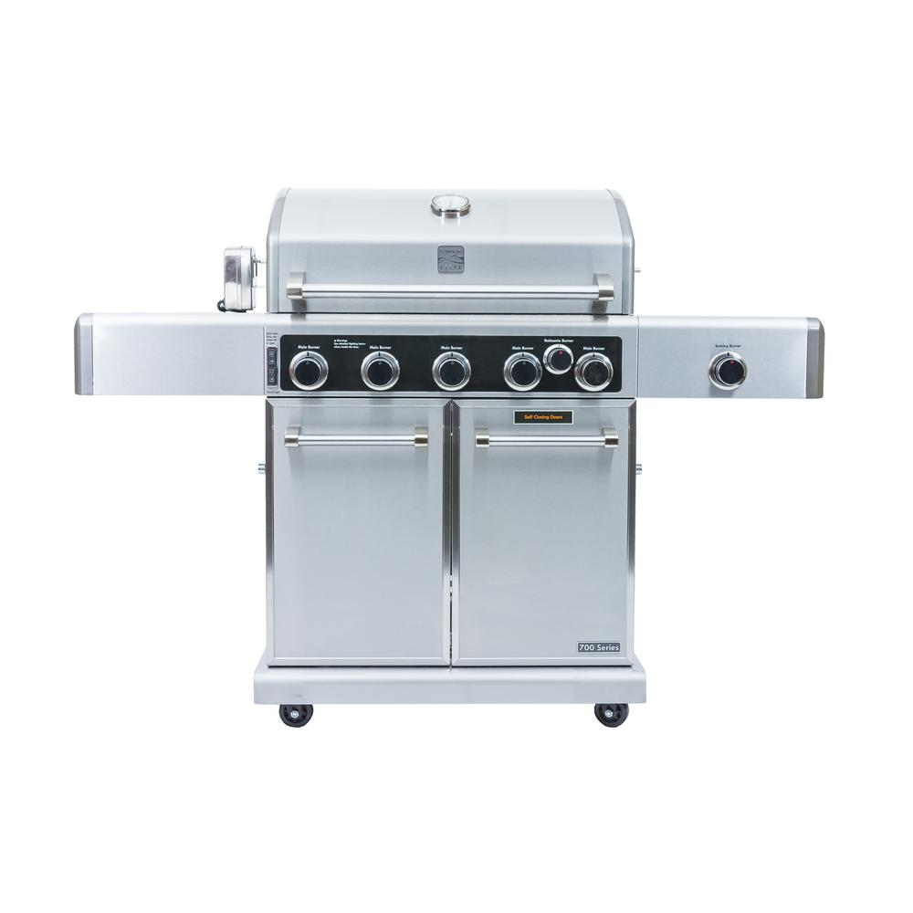 KENMORE ELITE Kenmore Elite 5 Burner Propane Gas Grill in Stainless ...