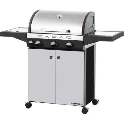 Stratos 3-Burner Freestanding Propane Gas Grill in Stainless Steel with Side Burner