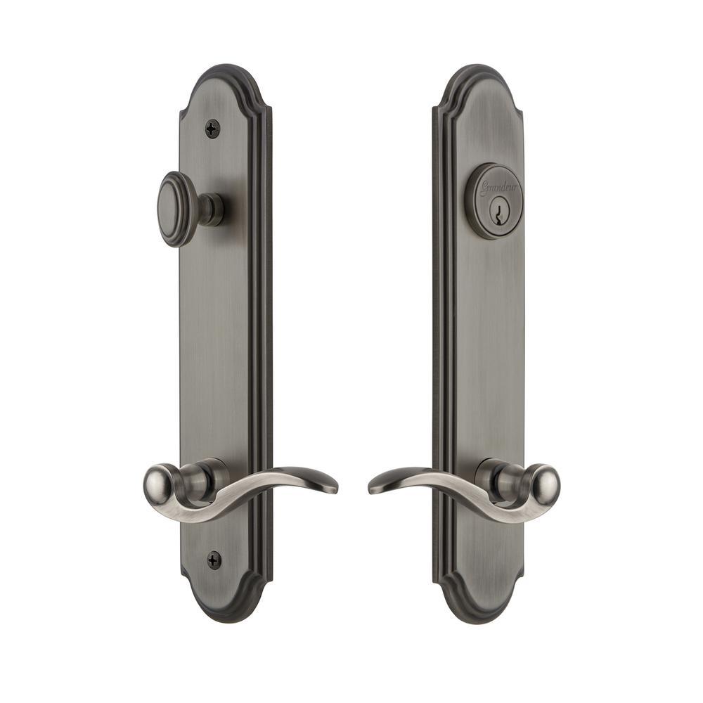 Backset Antique Pewter Door Handleset with - Grandeur Arc Tall Plate 2-3/8 In. Backset Antique Pewter Door
