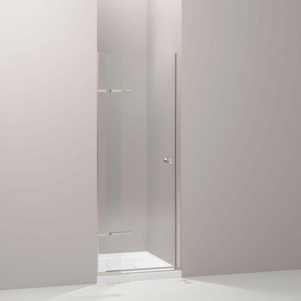 KOHLER Underline 31-1/4 in. x 69-1/2 in. Pivot Shower Door in Matte Nickel with Handle