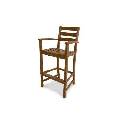 Monterey Bay Tree House Plastic Outdoor Patio Bar Arm Chair