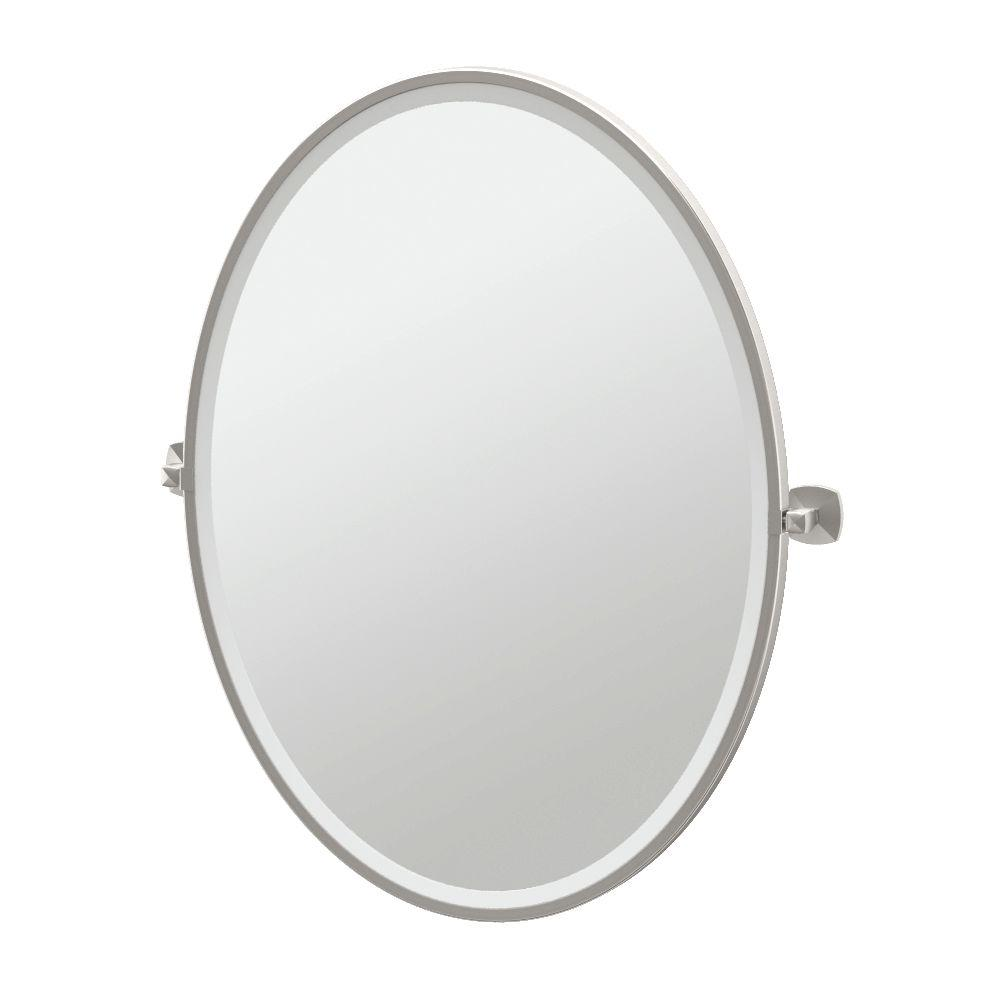 Framed Single Large Oval Mirror In Satin