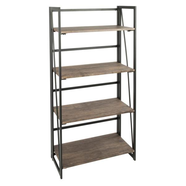 Lumisource Dakota Wood and Black Metal Bookcase OBC-DKTA BK+BN