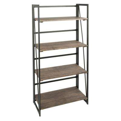 Dakota Wood and Black Metal Bookcase
