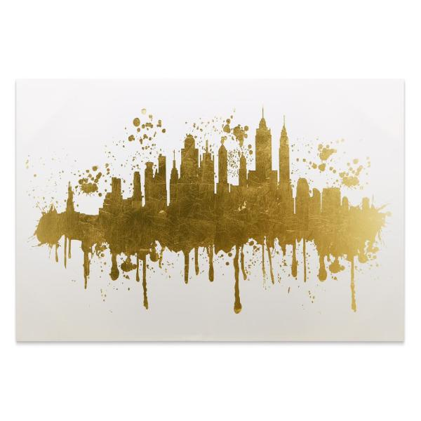 Nyc Skyline Gallery Wrap Gold Stamped