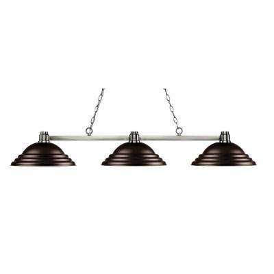 Peak 3 Light Brushed Nickel Billiard Light With Bronze Steel Shade