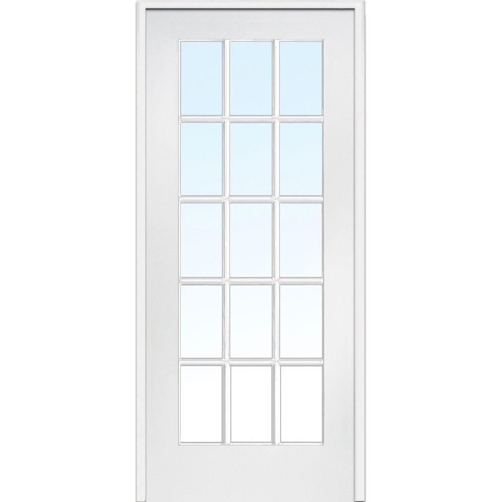 MMI Door 36 in. x 84 in. Right Handed Primed Composite Clear Glass 15 Lite True Divided Single Prehung Interior Door