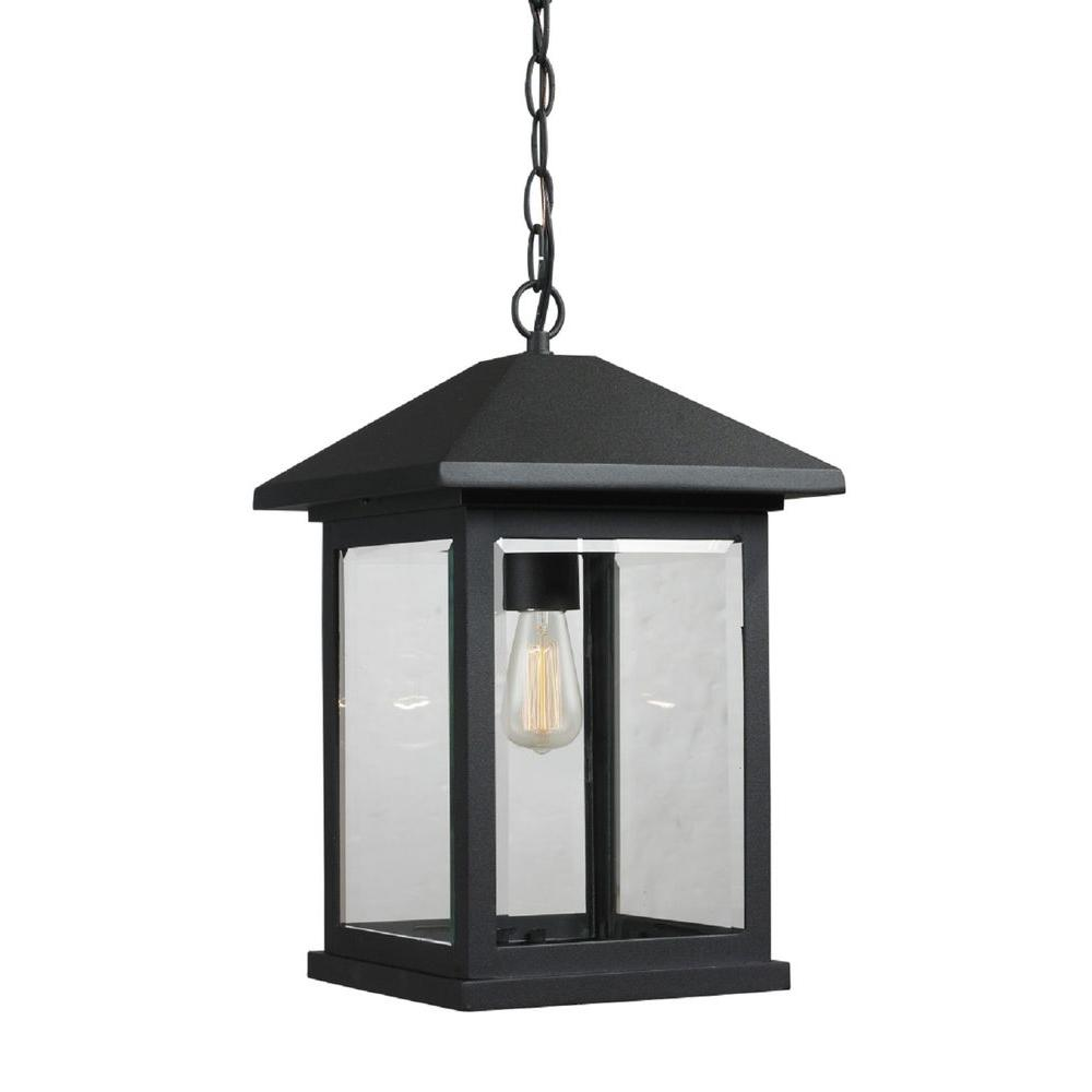 Malone 1-Light Black Outdoor Hanging Pendant Lantern with Clear Beveled Glass