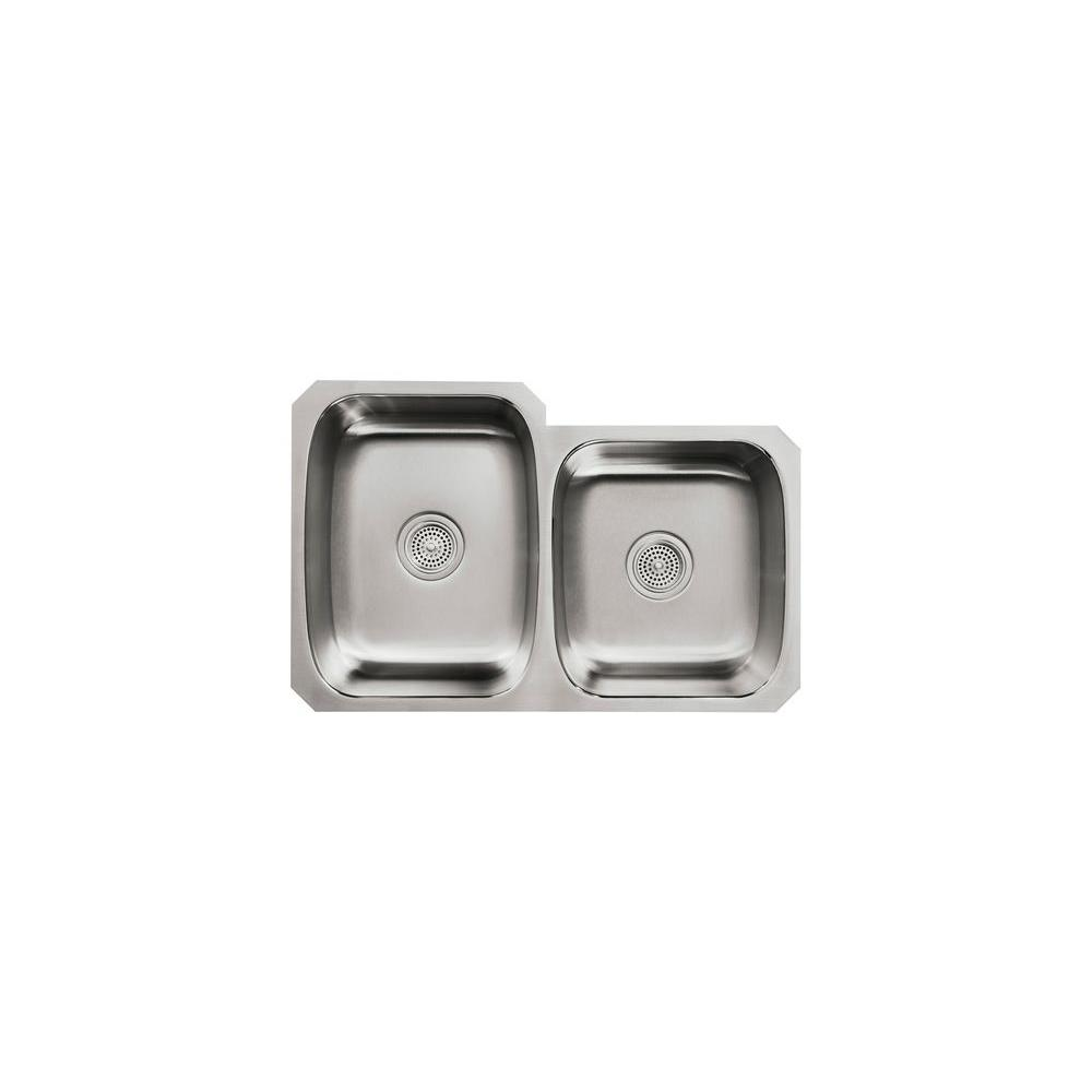 KOHLER Undertone Undercounter Stainless Steel 31-1/2 in. x 20-1/2 in. x 8 in. 0-Hole Double Bowl Kitchen Sink-DISCONTINUED