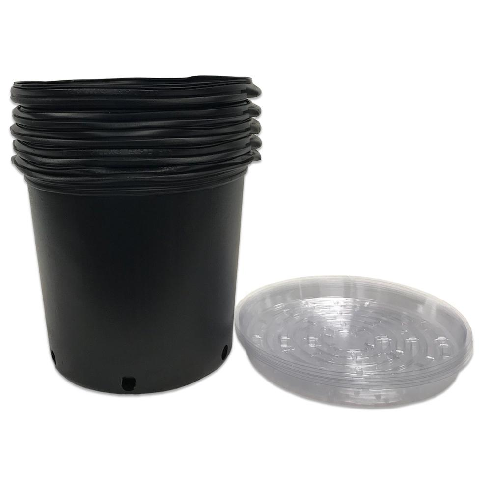 5 Gal Plastic Nursery Trade Pots With Saucers Pack