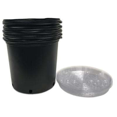 5 Gal. Plastic Nursery Trade Pots with Saucers (5-Pack)