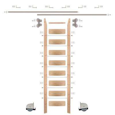 9 ft. Red Oak Ladder (10 ft. Reach) Satin Nickel Contemporary Rolling Hardware 12 ft. Rail and Horizontal Brackets