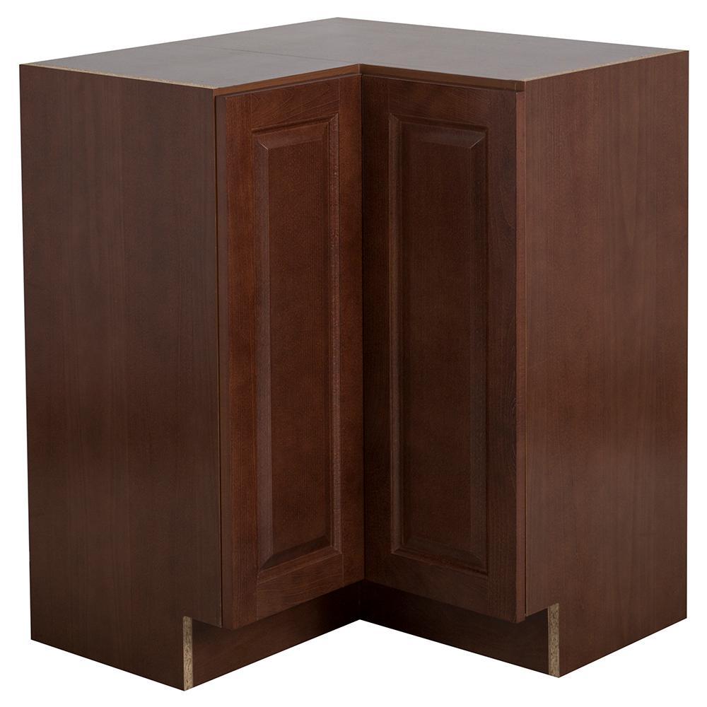 Hampton Bay Benton Assembled 27.8x34.5x27.78 in. Lazy Susan Corner Base  Cabinet in Amber