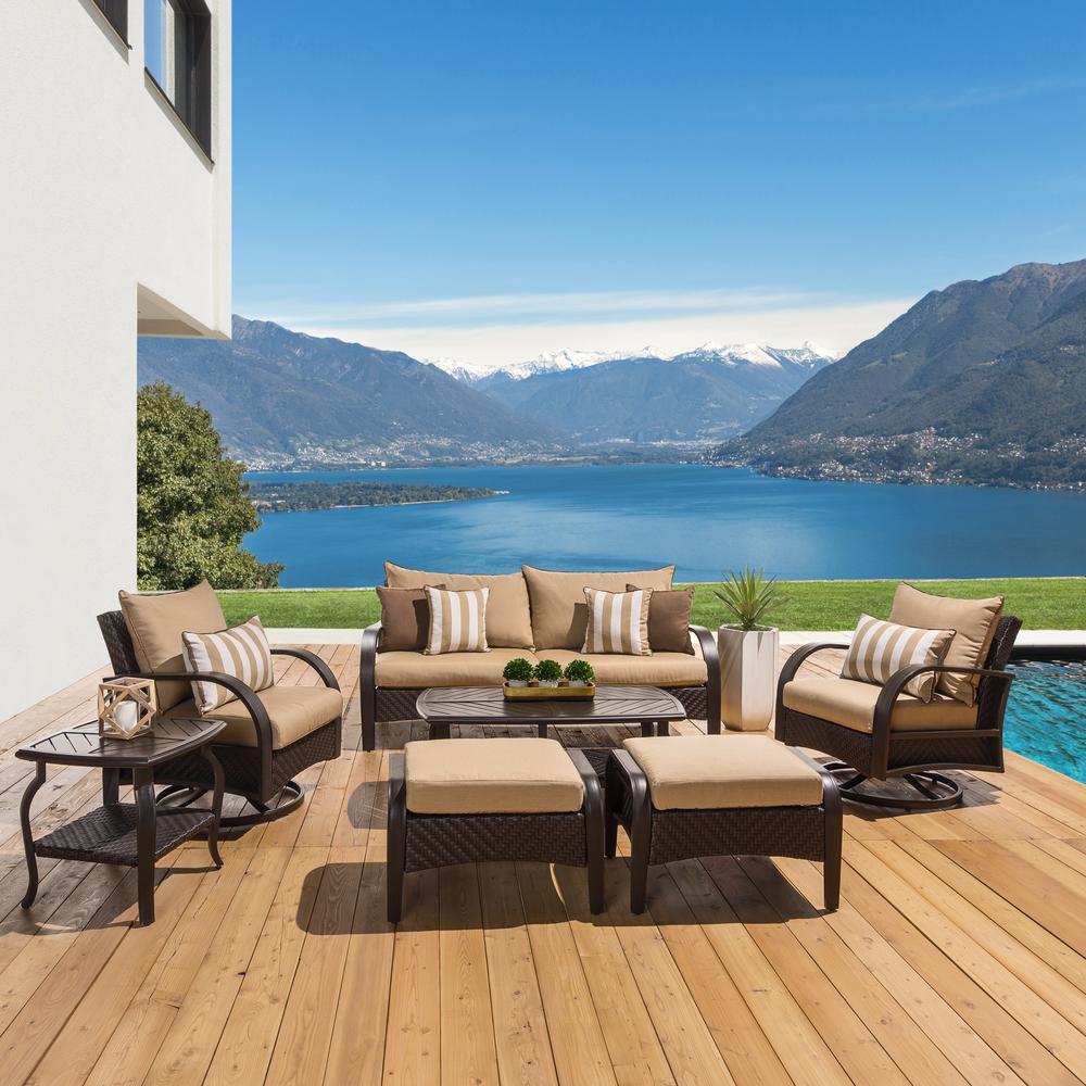 Barcelo 7-Piece Wicker Motion Patio Deep Seating Conversation Set with Sunbrella Maxim Beige Cushions