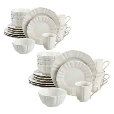 Aubrey 32-Piece Ivory Stoneware Dinnerware Set (Service for 8)