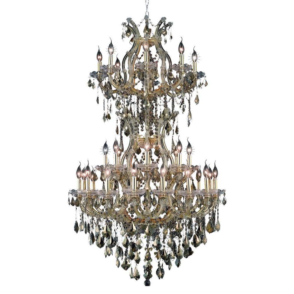 34-Light Gold Chandelier with Golden Teak (Smoky) Crystal