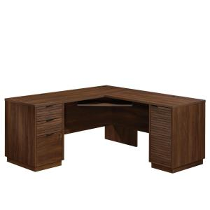 Englewood 65.118 in.W Spiced Mahogany L-Shaped Desk