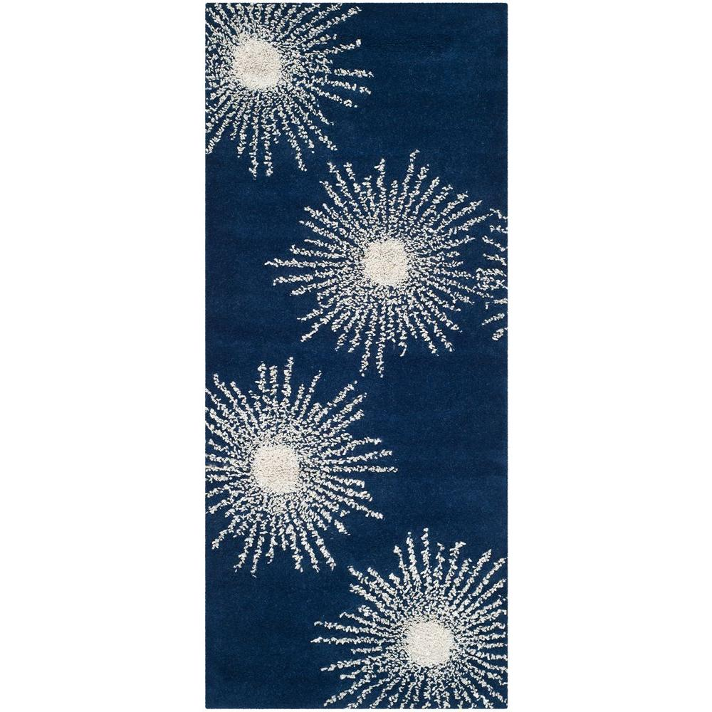 Soho Dark Blue/Ivory 2 ft. 6 in. x 10 ft. Runner