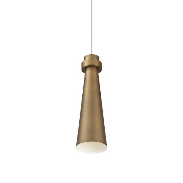 Future 75-Watt Equivalent Integrated LED Aged Brass Mini Pendant with Acrylic Shade
