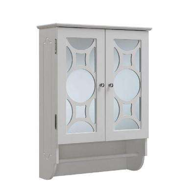 24 in. W x 32 in. H x 9-1/4 in. D Bathroom Storage Wall Cabinet with Mirrored Door and Towel Bar in White