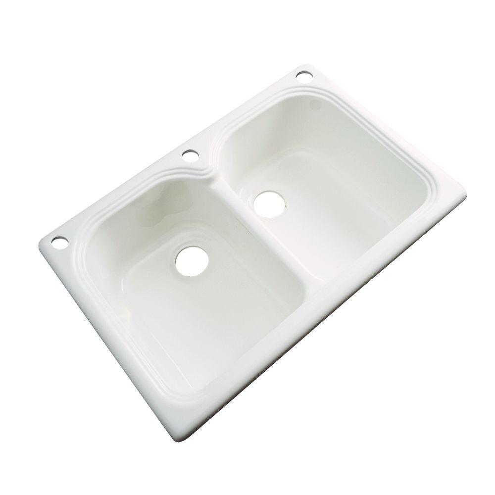 Hartford Drop-In Acrylic 33 in. 3-Hole Double Bowl Kitchen Sink in