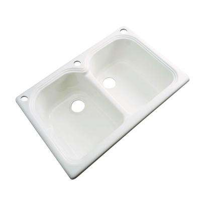 Hartford Drop-In Acrylic 33 in. 3-Hole Double Bowl Kitchen Sink in Biscuit