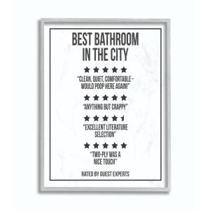 16 In X 20 Five Star Bathroom Black And White By Daphne Poli Framed Wall Art