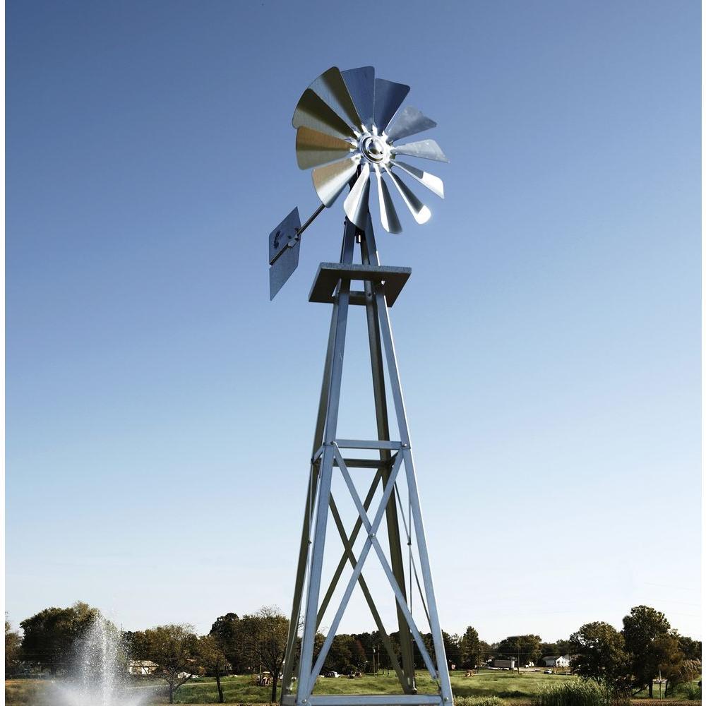 99 in. Small Galvanized Backyard Windmill