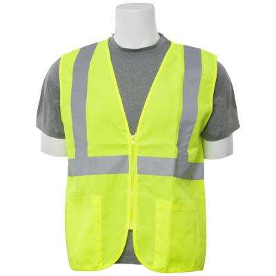 S388Z XL Class 2 Poly Oxford Zippered Hi Viz Lime Vest